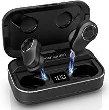 HeadSound S5 True Wireless Earbuds Headphones,165Hr Play w/ 3000mAh Auto Pairing SweatProof Sport Headset, 3D Sound Bluetooth 5.0 Totally Wireless in Ear Earphones, Built in Mic Dual Speaker for Calls