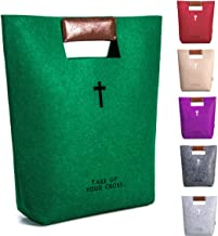 AGAPASS Cute Bible Tote for Women Church Bag with PU Leather Handles Bible Carrying Case, Felt Bible Cover, Carved Cross Christian Bible Tote Bag for Men Women Girls Boys,Christian Gifts,Army Green