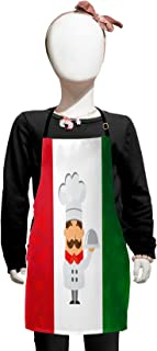Lunarable Italian Flag Kids Apron, Colorful Caricature Chef Smiling Cuisine Traditional Mediterranean Diet, Boys Girls Apron Bib with Adjustable Ties for Baking Painting, Kids Size, Green Red