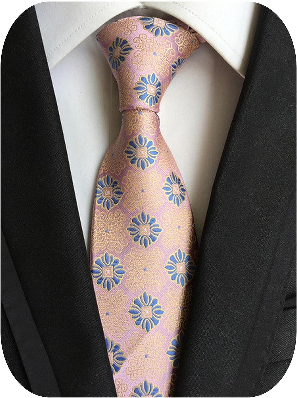 Fashion Classic Men's Tie Plaid Striped Jacquard Silk Necktie Business Formal Wedding Party 8cm 1200 Needles Corbatas Gravata