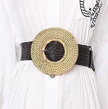 SSMDYLYM Houten gesp jurk riem voor vrouwen casual vrouwelijke gevlochten brede riem vrouwelijke ontwerper geweven (Color...