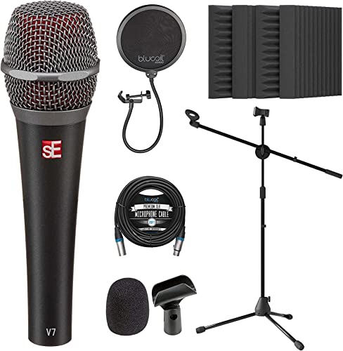 """discount sE Electronics V7 Dynamic Microphone wholesale for Vocals, Drums, and Acoustic Instruments Bundle with Blucoil 20-FT Balanced XLR Cable, 2021 Pop Filter Windscreen, Adjustable Mic Stand, and 4x 12"""" Acoustic Wedges online sale"""