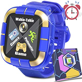 Kids Game Smart Watch,[Walkie Talkie Edition] Smartwatch for Girls Boys Toddlers,Digital Wrist Watch with Touch Screen Pedometer Camera Alarm Clock Birthday Gift Electronic Learning Toys(Blue)