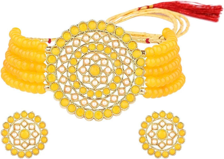 Efulgenz Indian Jewelry SetCrystal Faux Pearl Multi Layered Strand Beaded Choker Necklace Earrings Bollywood Jewelry Set