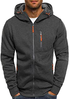 Realdo Big Mens Hooded Jacket Long Sleeve Zipper Sweatshirt Tops