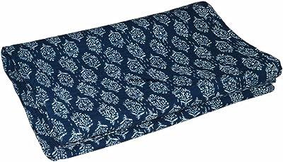 Queen Size Indigo Blue Cotton Bedspread 220x270 cm V Vedant Designs Indian Handmade Blue Color Hand Block Printed Kantha Quilt