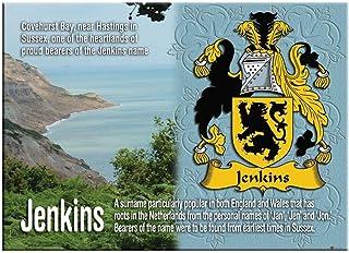 Jenkins English Ancestry Family Name Souvenir Metallic Picture Fridge Magnet