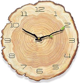 HyFanStr Silencieuse Horloge Murale Vintage Pendule Murale Bois, Pendule Cuisine Murale, Retro Horloge Vintage pour la Mai...