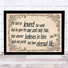 cupGTR :) Bible Wall Art—Perfect Christian Gift - with Frame - Size14x12in -John 316, God so Loved World Gave Son Whoever Believes Eternal Life