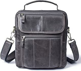 Men's Accessories Vintage Crazy Horse Leather Briefcase Shoulder Satchel Shoulder Handbag for Phone Tablet Power Bank Outdoor Recreation (Color : Gray)