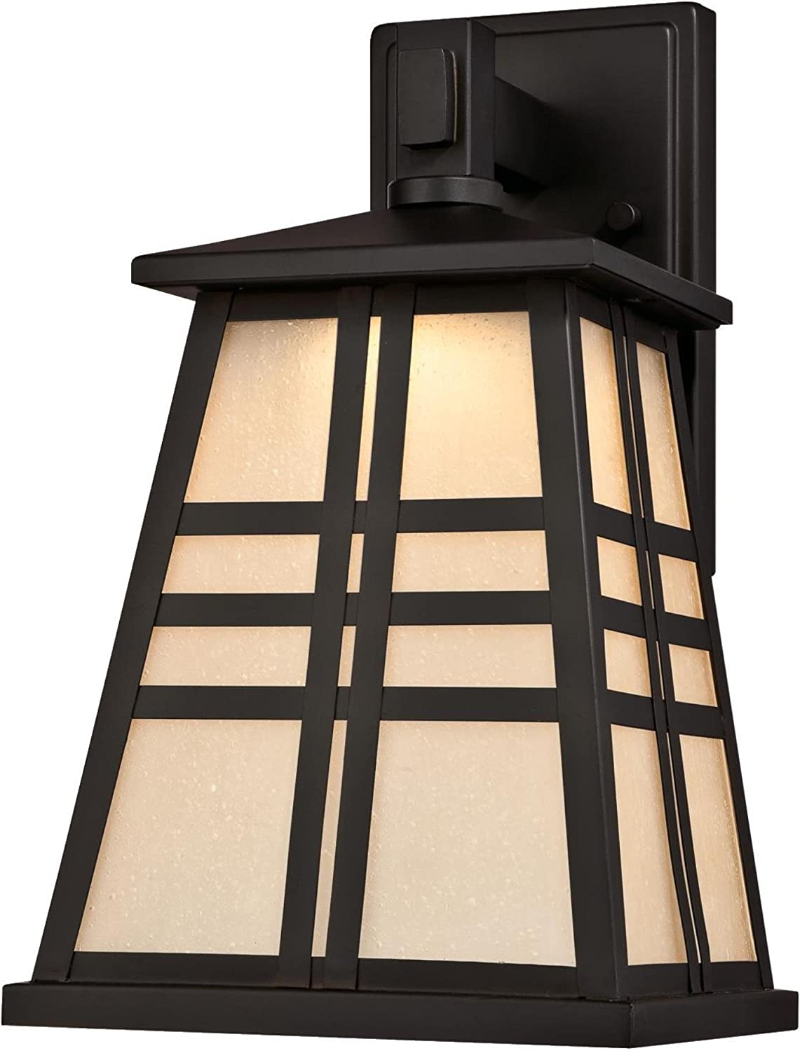 Westinghouse Lighting 6339700 Creekview One-Light LED Outdoor Wall Fixture with Amber Frosted Seeded Glass, Oil Rubbed Bronze