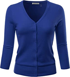 EIMIN Women's 3/4 Sleeve V-Neck Button Down Stretch Knit...