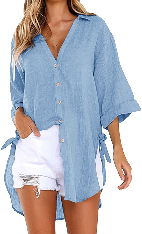 Womens Oversized Button Down Shirts Linen Cotton Blouse 3/4 Sleeve Roll Up V Neck Drawstring Shirt Plain Tops Blue
