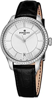 First Class Lady Automatic Womens Diamond Watch - 35mm Analog Silver Face Ladies Watch with Second Hand, Date - Black Leather Band Stainless Steel Swiss Luxury Dress Watches for Women A2070/1