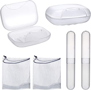 6 Pieces Portable Toiletry Set Includes Soap Box Holder Toothbrush Case Holder Foaming Net for Home Outdoor Hiking Camping Supplies