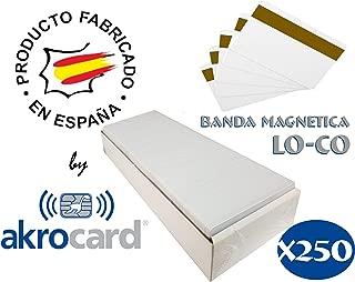 Pack 250 - Tarjeta pvc BLANCA con banda magnética LO-CO (baja densidad) - formato estándar ISO CR80 (86x54mm), de 0,76mm de grosor para imprimir mediante impresora tarjetas pvc