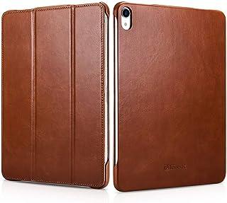 iCarer iPad Pro 11 inches 2018 Leather Case, Vintage Style Leather Tri-Foldable Stand Smart Wake Up/Sleep Folio Flip Case ...