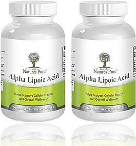 Simply Nature's Pure Alpha Lipoic Acid 600mg 120 Veggie Capsules RLA R-LA R-Lipoic S-Lipoic, ALA, Thioctic Acid 4 Month Supply - Pack of 2