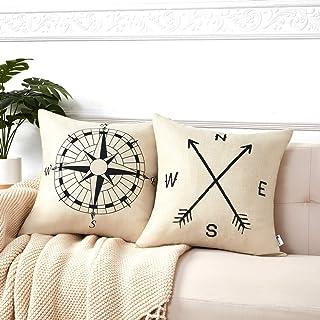 Anickal Set of 2 Modern Decorative Nautical Arrow Compass Decorative Throw Pillow Covers Cotton Linen Pillow Cases 18 x 18 for Summer Home Decor