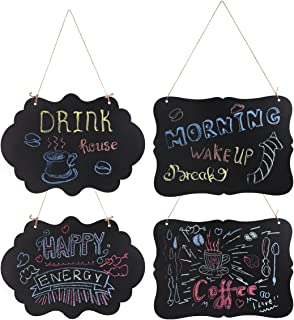 WINOMO Chalkboard Sign Double-Sided Hanging Chalkboard Mini Message Signs Board 4pcs with Hanging Strings and Cleaning Cloth