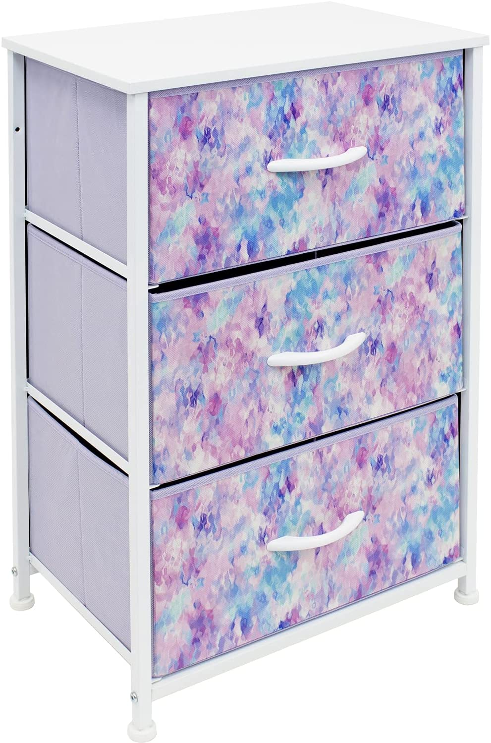 Sorbus Nightstand Storage Organizer Chest with 3 Drawers - Kids Girls, Boys Bedroom Furniture Chest for Clothes, Closet Organization - Steel Frame, Wood Top, Fabric Bin (3-Drawer, Blue/Pink/Purple)