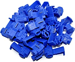 MUYI 100 Pcs Blue Electrical IDC 0.75-2.5mm2 Wire Connector Double Run or Tap Flame Retardant 18–16 AWG (Solid/Stranded), 14 AWG (Stranded) 0.75x1.26inches. (WxL) 15A Max. Current One Pack (Blue)