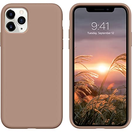 DUEDUE iPhone 11 Pro Max Case, Liquid Silicone Soft Gel Rubber Slim Cover with Microfiber Cloth Cushion Shockproof Full Body Protective Case for iPhone 11 Pro Max 6.5 for Women Men, Light Brown