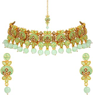 I Jewels Gold Plated Traditional Kunzite Pearl Necklace Set with Earrings & Maang Tikka for Women