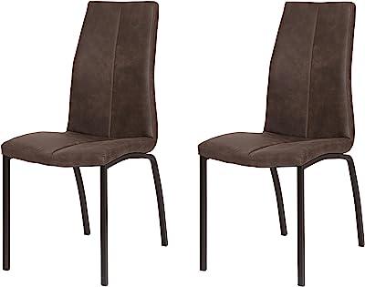 La Chaise espagnole Ourense Chaise, Tissus, Marron Chocolat, 94 cm (Hauteur) x 43,5 cm (Largeur) x 58 cm (Profondeur)