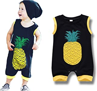 YOUNGER TREE Newborn Baby Boy Bodysuit Cotton Sleeveless Cartoon Pineapple Romper Summer Outfits Clothes Onesies 0-2T