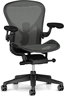 Herman Miller Aeron Ergonomic Office Chair with Tilt Limiter | Adjustable PostureFit SL and Arms | Medium Size B with Graphite/Polished Aluminum Finish