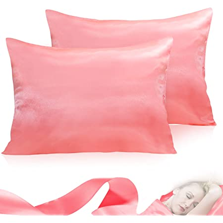 Leccod 2 Pack Silky Satin Pillowcase for Hair and Skin Cool Super Soft and Luxury Pillow Cases Covers with Envelope Closure (Coral Pink, Standard: 20x26)