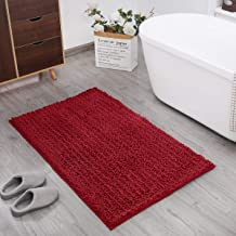 DEARTOWN Non-Slip Thick Microfiber Bathroom Rugs, Machine-Washable Bath Mats Water Absorbent (31x59 Inches, Style 1: Red)