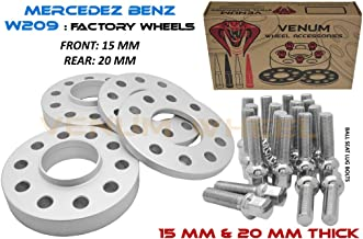 Complete Staggered Kit of 15mm & 20mm Hubcentric Wheel Spacers for 2003-2009 Mercedes CLK | Includes Extended 12x1.5 Ball Seat Bolts
