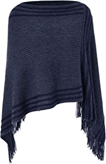 Ferand Women's Casual Striped Knit Poncho Sweater with Fringes