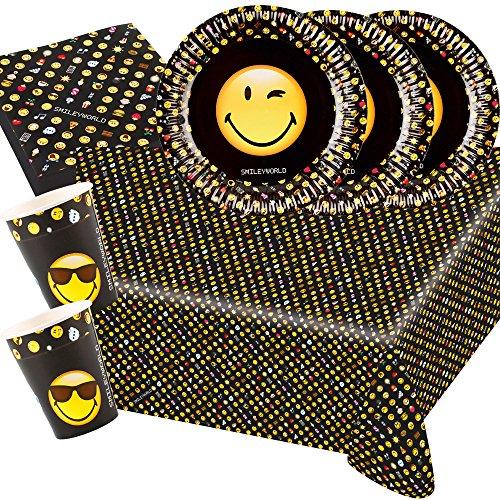 Unbekannt 37-teiliges Party-Set Smiley Emoticons - Teller Becher Servietten Tischdecke für 8 Personen