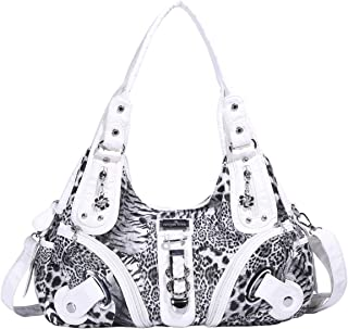 Angelkiss Womens Designer Leather Leopard Print Purses and Handbags for Women Hobo Bag Shoulder Top-handle Bags Soft