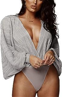 JUNword Women Body Shaper Slimming Tummy Control Shaperwear Fitness Bodysuits Waist Trainer Plus Size S-4XL,Purple,L