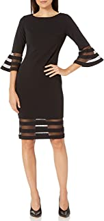Women's Bell Sleeve Sheath with Sheer Inserts Dress