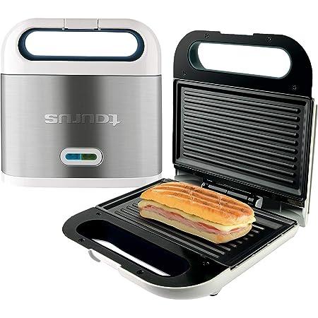 Taurus Sandwichera Phoenix Luxe, grill, resultados crujientes, placas antiadherentes 21.5x12.5 cm, indicador luminoso de temperatura, toque frío, fácil limpieza, inox, Plastique