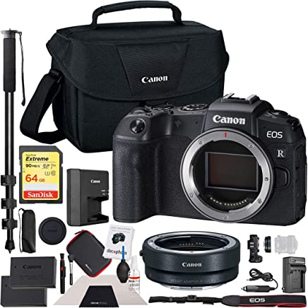"$1398 Get Canon EOS RP Full-Frame Mirrorless Digital Camera Body Only with EF-EOS R Lens Adapter & Shoulder Gadget Bag Case Extra Battery Deco Gear Cleaning Kit 72"" Monopod Essential Bundle"
