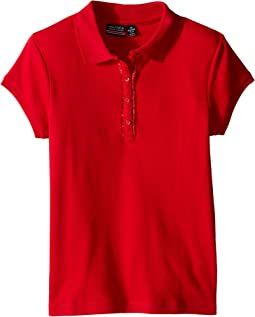 Girls Plus Short Sleeve Polo with Ruffle Placket (Big Kids)