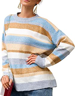 kaimimei Women's Fall Casual Color Block Stripped Knit Pullover Sweater Rainbow Long Sleeve Crew Neck Loose Jumper Top