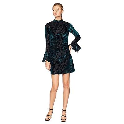 Laundry by Shelli Segal Burnout Velvet Dress with Bell Sleeves (Emerald/Black) Women