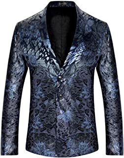 Sportides Men's Casual Slim Fit Velvet Flower Printed Two Button Blazer Jacket Suits JZA132 Navy S