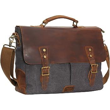 "WOWBOX Messenger Bag for Men 15.6"" Leather Laptop Satchel Briefcase Bags Gray"