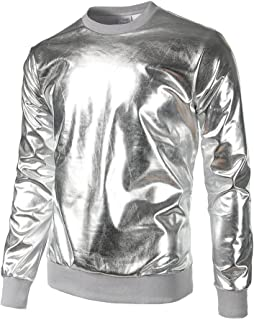 Rikay Mens Sparkly Sweatshirt Pullover Roll Necks Patent Leather Tops Plain Long Sleeve Tops Sale Gold Blue Sliver