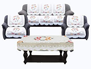 Kuber Industries Flower Cotton 7 Piece 5 Seater Sofa Cover with Center Table Cover - CTKTC028729