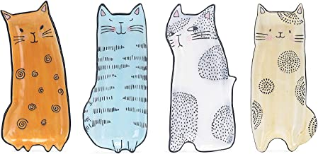 Bico Cartoon Cat Handcrafted Stoneware Ceramic 8 inch Appetizer Plates Set of 4, Assorted Color