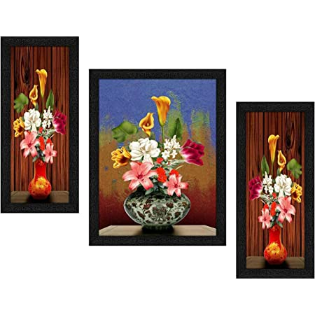 SND ART UV Textured Modern Abstract Wall Art Painting with Frame for Living Room Wall Decoration (Bronze) Set of 3
